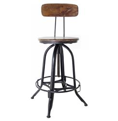 Architect's Industrial Wood Iron Counter Bar Swivel Stool with Back