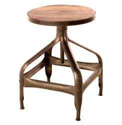 Draftsman's Industrial Loft Wood Iron Swivel Stool