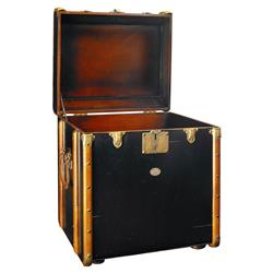 Timothy Modern Classic Distressed Black Victorian Luggage Trunk