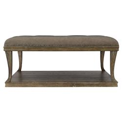 Scarlett Rustic Lodge Button Tufted Brown Upholstered Ottoman Square Coffee Table