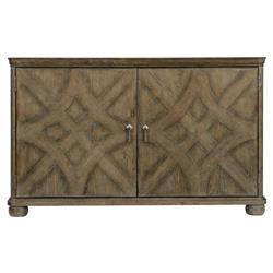 Scarlett Rustic Lodge Fancy Face 2 Door Dark Wood Sideboard