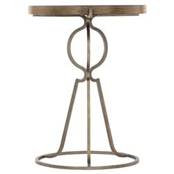 Scarlett Rustic Lodge Dark Wood Iron Base Round Side End Table