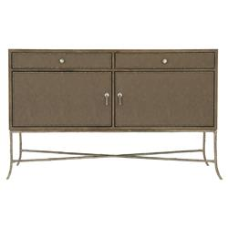 Scarlett Rustic Lodge Brown Performance Fabric Wrapped Iron X Base Sideboard