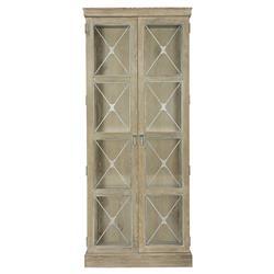 Scarlett Rustic Lodge Light Wood 2 Door Tempered Glass China Cabinet
