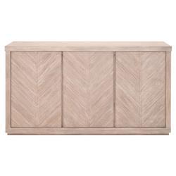Astrid Modern Natural Grey Acacia Wood 3-Door Chevron Pattern Media Sideboard