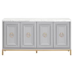Avril Modern Classic 4-Door Brushed Gold White Marble Top Grey Media Sideboard