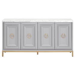 Avril Modern Grey Wood White Marble Top Brushed Gold 4-Door Media Sideboard