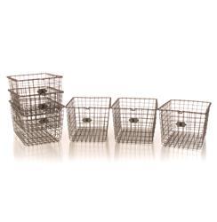 Industrial Loft Locker Wire Storage Baskets- Set of 6