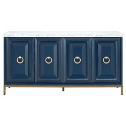 Avril Modern Classic 4-Door Brushed Gold White Marble Top Blue Media Sideboard