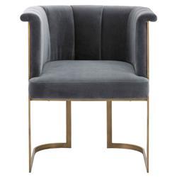 Bessy Modern Classic Grey Velvet Upholstered Brass Dining Chair