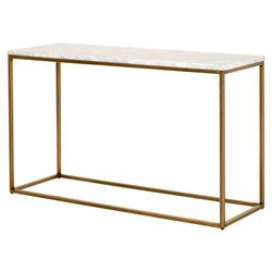 Carol Modern Classic White Marble Top Gold Steel Frame Console Table