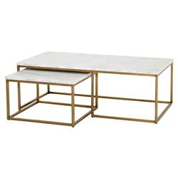 Carol Modern Classic White Marble Top Brushed Gold Nesting Coffee Table - Set