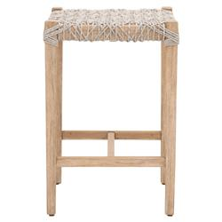 Kristoffer Coastal Beach Woven Rope Natural Grey Mahogany Backless Counter Stool