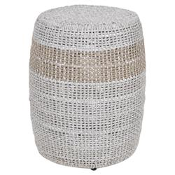 Lorry Modern Classic Woven Taupe Grey Cylinder Outdoor Side End Table
