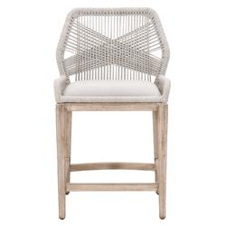 Lorry Coastal Beach Taupe Rope Woven Mahogany Performance Counter Stool