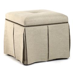 Raquel Hollywood Regency Linen Kick Pleat Ottoman