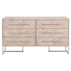 Moris Modern Natural Grey Acacia Stainless Steel Pulls 6-Drawer Double Dresser