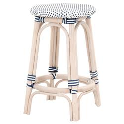 Peter French Country Woven Round Seat White Wash Rattan Outdoor Counter Stool