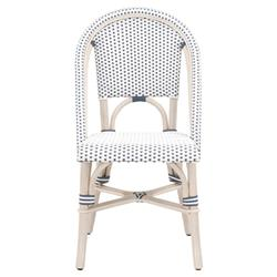 Peter French Country Woven White Wash Rattan Outdoor Dining Side Chair - Set of 2