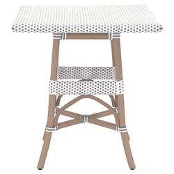 Peter French Country Woven Old Grey Rattan Square Outdoor Bistro Dining Table