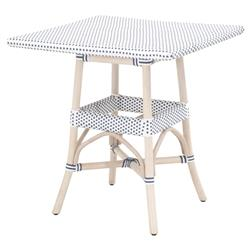 Peter French Country Woven White Wash Rattan Square Outdoor Bistro Dining Table