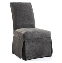 Raquel Hollywood Regency Gray Velvet Tufted Dining Chair