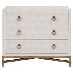 Simon Modern Classic 3-Drawer White Faux Shagreen Brushed Gold Nightstand