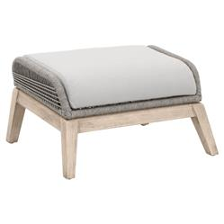 Lorry Modern Classic Grey Woven Teak Wood Outdoor Ottoman