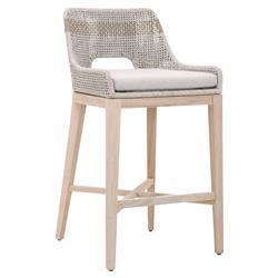 Theodore Modern Classic Grey Woven Cushion Solid Teak Outdoor Bar Stool