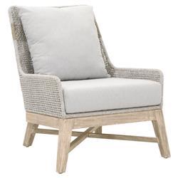 Theodore Coastal Beach Grey Woven Cushion Solid Teak Outdoor Occasional Chair