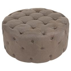Amalia French Country Brown Linen Button Tufted Ottoman