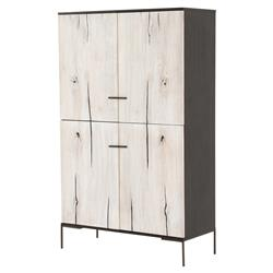 Clare Modern Classic Ivory Doors Black Ash Wood Tall Wardrobe Cabinet
