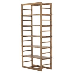 Marky Modern Classic 5-Shelve Natural Brown Oak Wood Bookcase