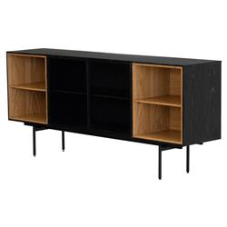 Teressa Modern Classic Brown Open Shelves Glass Door Black Oak Buffet Sideboard