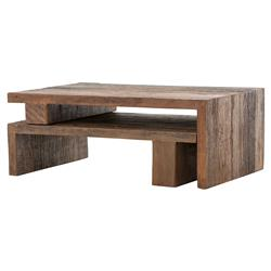 Fatima Modern Classic Distressed Peroba Wood Nesting Coffee Tables