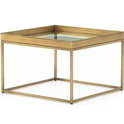 Kasey Hollywood Regency Tempered Glass Top Antique Brass Square Coffee Table