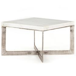 Louella Modern Classic Distressed Brushed Nickel White Marble Coffee Table