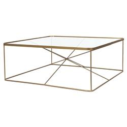 Louie Modern Classic Antique Brass Square Tempered Glass Coffee Table