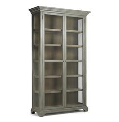 Lucille French Country Grey Wash Chicken Wire Bookcase Cabinet