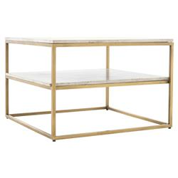 Patricia Modern Classic Antique Brass Patterned White Marble Square Coffee Table