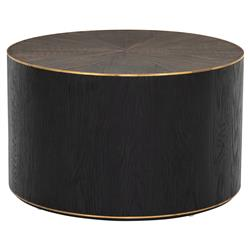 Primo Modern Classic Polished Brass Accent Black Round Starburst Oak Round Coffee Table