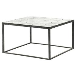 Renee Modern Classic Rustic Black Honeycomb Antique Mirror Top Coffee Table