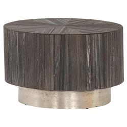 Zaldy Modern Classic Plinth Pewter Round Starburst Black Marble Coffee Table