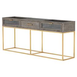 Arielle Modern Classic 3-Drawer Ash Grey Polished Brass Console Table