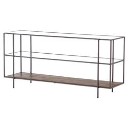 Billy Modern Classic Tempered Glass Mango Wood Shelves Black Iron Console Table