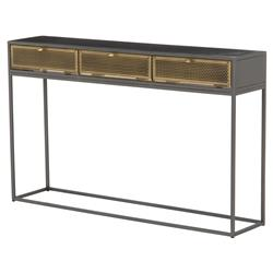 Hadrielle Industrial Loft Brass Storage Drawers Black Iron Console Table