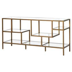 Herlyn Modern Classic Tempered Glass Staggered Shelves Antique Brass Console Table