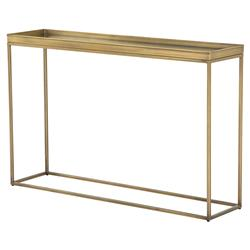 Kasey Holywood Regency Tempered Glass Top Antique Brass Console Table