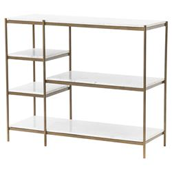 Loisa Modern Classic White Marble Shelves Antique Brass Frame Console Table