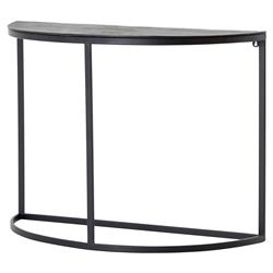Miller Modern Classic Antique Rust Demilune Black Frame Console Table